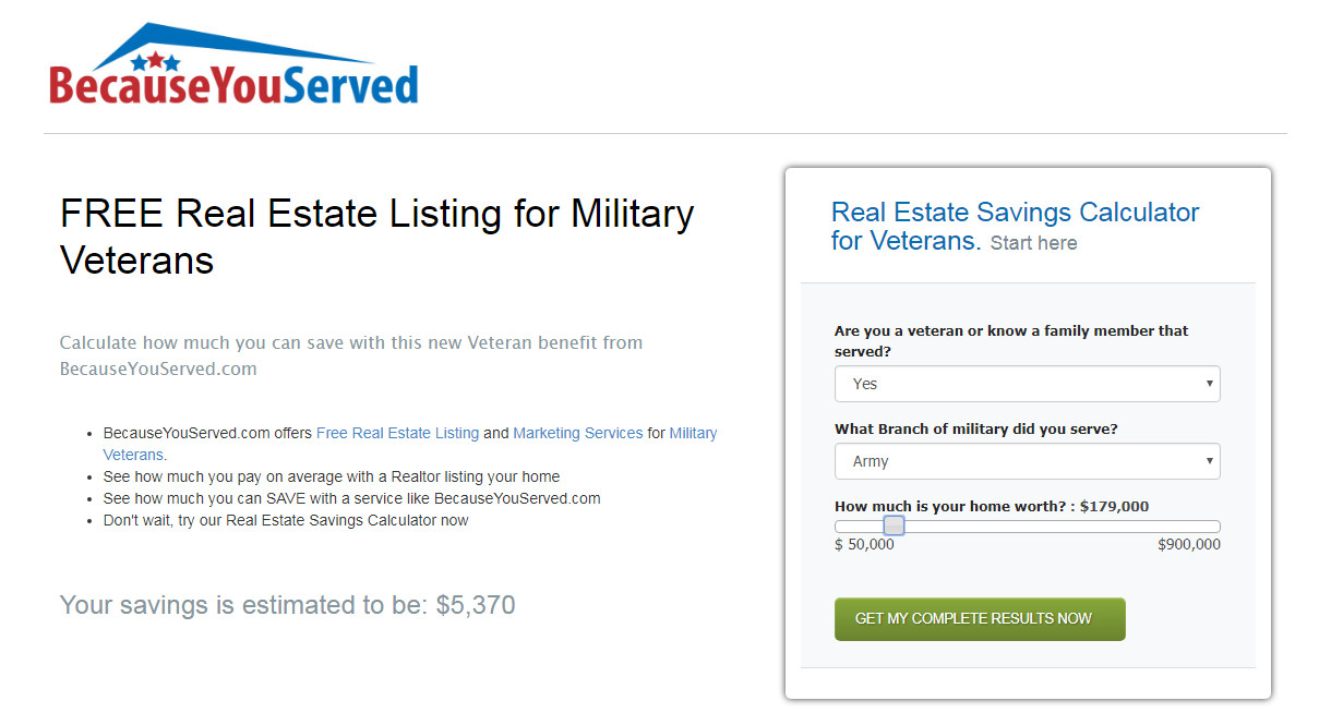 Veterans - Save Thousands with Free Home Listing
