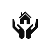 icon of a house and person's hands