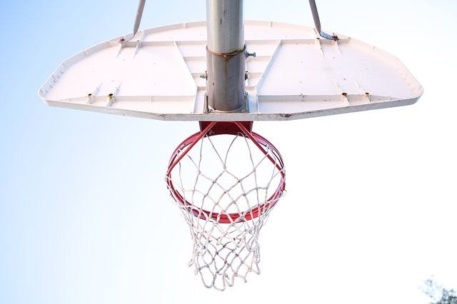 basketball goal viewed from below
