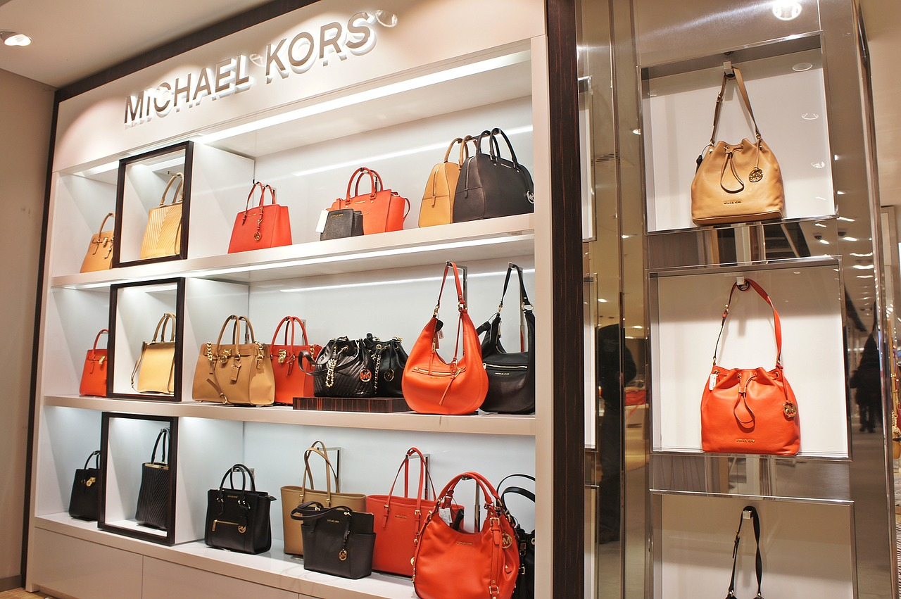 luxury handbags in department store