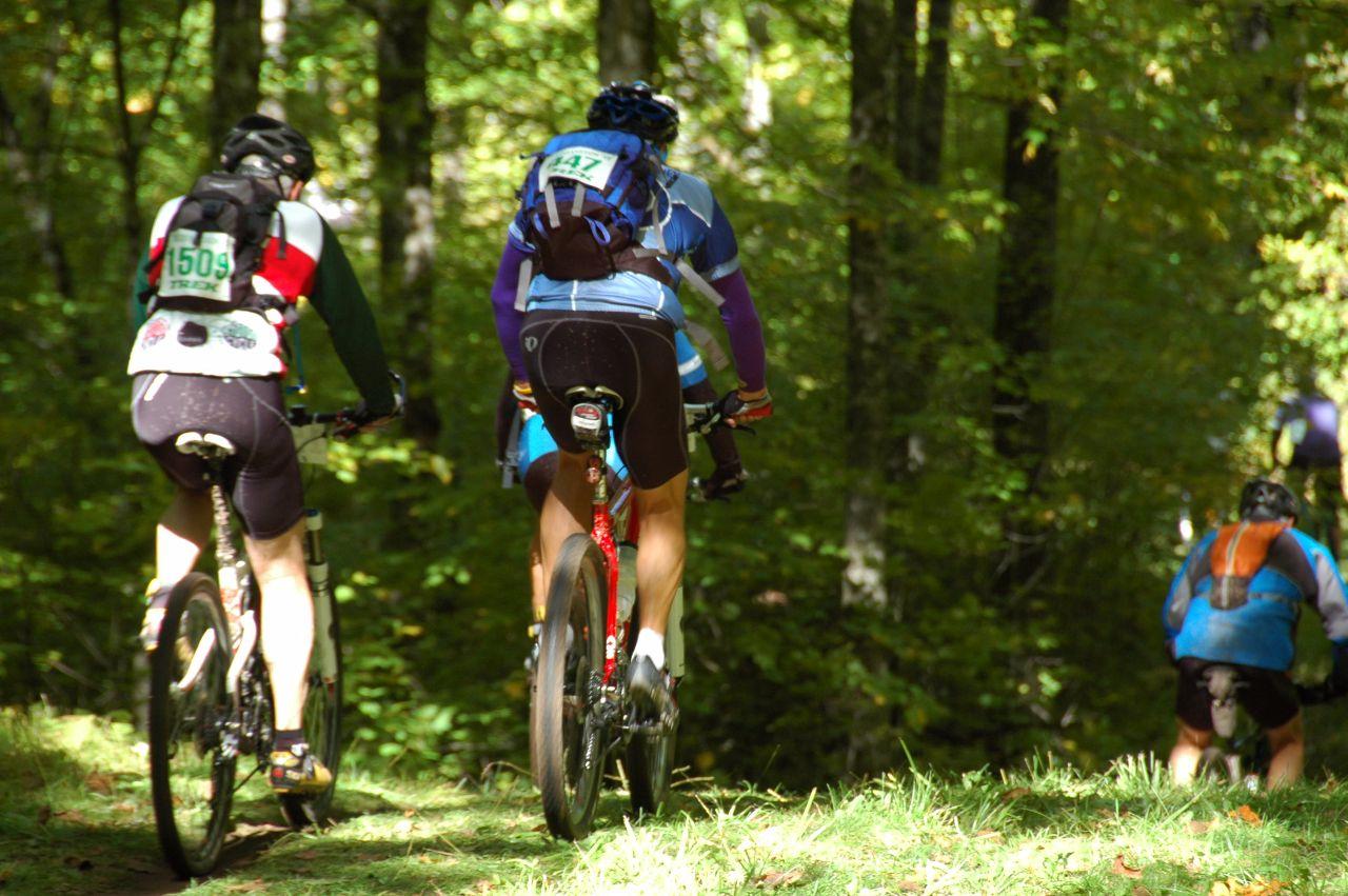 biking along beautiful trails
