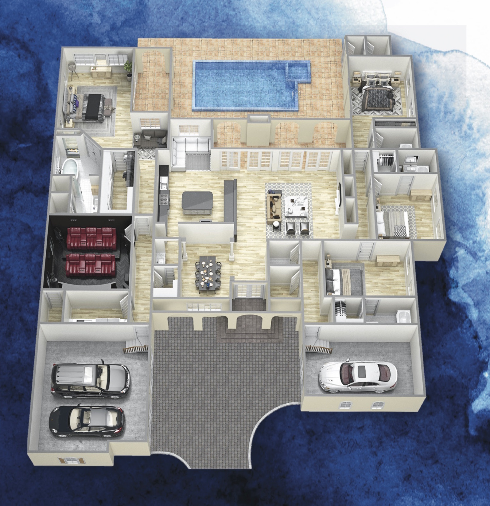 the casa bella 3D floor plan